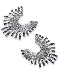 I.N.C. Silver-Tone Ombré Crystal Bypass Earrings, Created for Macy's