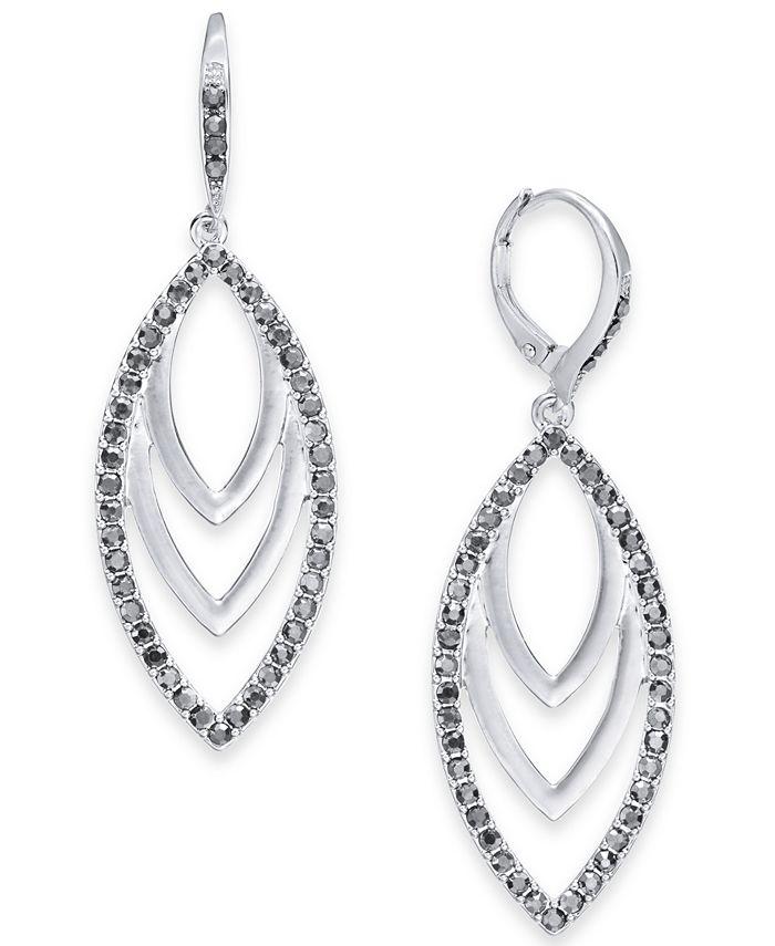 INC International Concepts - Silver-Tone Hematite Drop Navette Earrings