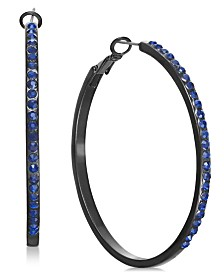 I.N.C. Jet-Tone & Blue Crystal Hoop Earrings, Created for Macy's