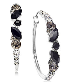 I.N.C. Silver-Tone Black Ombré Crystal Hoop Earrings, Created for Macy's