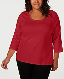 Plus Size Cotton 3/4-Sleeves Top