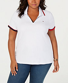 Tommy Hilfiger Plus Size V-Neck Polo Shirt, Created for Macy's