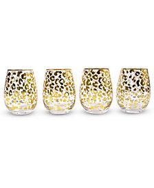 Leopard Stemless Wine Glass Set Of 4