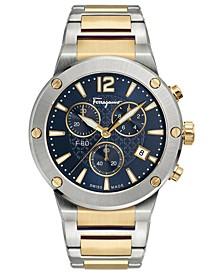 Men's Swiss Chronograph F-80 Two-Tone Stainless Steel Bracelet Watch 44mm