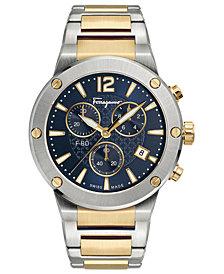 Ferragamo Men's Swiss Chronograph F-80 Two-Tone Stainless Steel Bracelet Watch 44mm