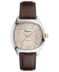 Ferragamo Men's Swiss Automatic Time Brown Leather Strap Watch 41x41mm