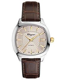Ferragamo Men's Swiss Automatic Time Brown Leather Strap Watch 41x41mm