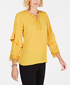 Alfani Ruffled Crochet-Trim Top, Created for Macy's