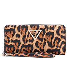 GUESS Lauri Boxed Animal-Print Zip-Around Wristlet