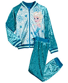 Disney Toddler Girls 2-Pc. Elsa Crushed Velvet Bomber Jacket & Jogger Pants Set