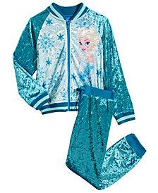 Disney Little Girls 2-Pc. Frozen Crushed-Velvet Jacket & Pants Set