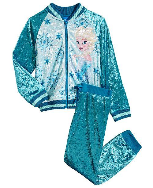 Disney Toddler Girls 2-Pc. Elsa Crushed Velvet Bomber Jacket & Jogger Pants Set