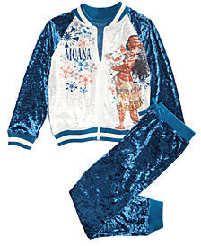 Disney Little Girls 2-Pc. Moana Crushed-Velvet Jacket & Pants Set