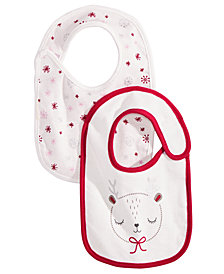 First Impressions Baby Girls 2-Pk. Reversible Reindeer & Snowman Bibs, Created for Macy's