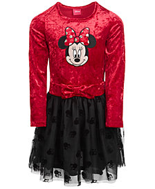Disney Little Girls Minnie Mouse Crushed Velvet Dress, Created for Macy's