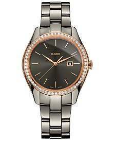 Rado Women's Swiss HyperChrome Diamond (3/8 ct. t.w.) Plasma High-Tech Ceramic Bracelet Watch 36mm