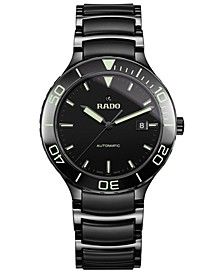 Men's Swiss Automatic Centrix Black High-Tech Ceramic & Stainless Steel Bracelet Watch 42mm
