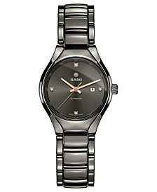 Rado Women's Swiss Automatic True Diamond-Accent Plasma High-Tech Ceramic Bracelet Watch 30mm