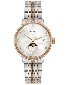 Rado Women's Swiss Coupole Classic Diamond (1/4 ct. t.w.) Two-Tone PVD Stainless Steel Bracelet Watch 34mm