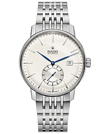 Rado Men's Swiss Automatic Chronometer Coupole Classic Stainless Steel Bracelet Watch 41mm