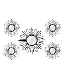 Stratton Home Decor 5 Piece Silver Burst Wall Mirror