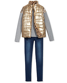 Epic Threads Big Girls Reversible Vest, Sequin T-Shirt & Jeans, Created for Macy's