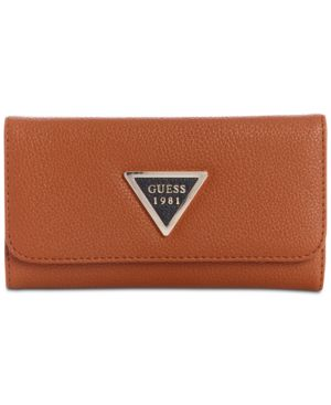 Lauri Boxed Slim Clutch Wallet, Cognac Multi/Gold