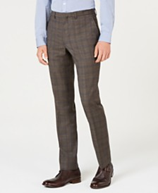 Cole Haan Men's Grand OS Slim-Fit Wearable Technology Plaid Suit Pants