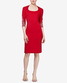 Embellished Scuba Sheath Dress