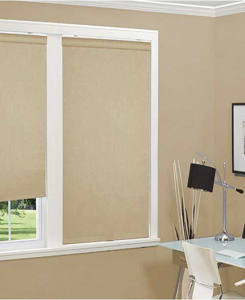 "Home Basics Cordless Linen Look Thermal Fabric Roller Shade, 72""x66"""