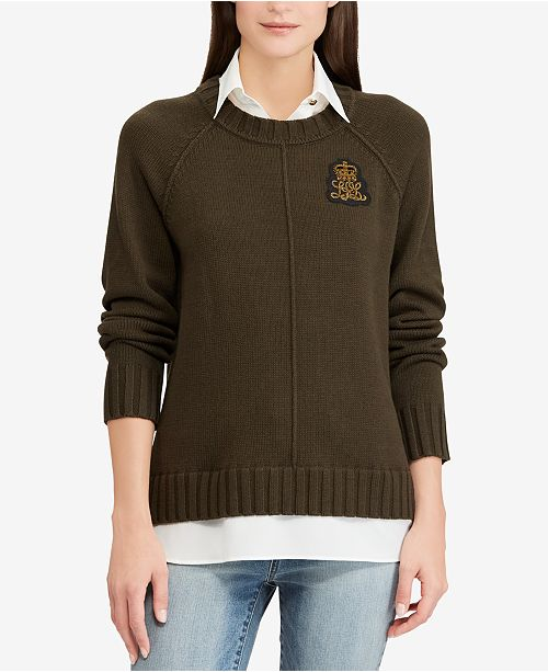 f23363f191f5 Lauren Ralph Lauren Bullion Patch Layered-Look Shirt - Sweaters ...