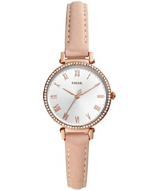 Fossil Women's Kinsey Beige Leather Strap Watch 28mm