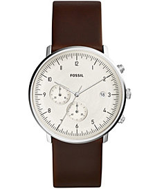 Fossil Men's Chronograph Chase Timer Brown Leather Strap Watch 42mm
