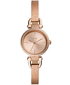 Fossil Women's Georgia Mini Rose Gold-Tone Stainless Steel Bangle Bracelet Watch 26mm