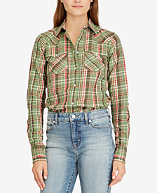 Lauren Ralph Lauren Plaid Western Cotton Shirt