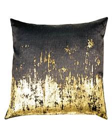 Chocolate Distressed Metallic Viscose Print Pillow