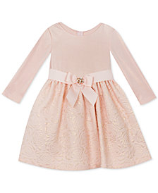 Rare Editions Baby Girls Textured Knit Brocade Dress