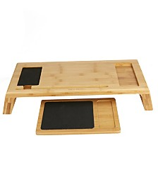 Mind Reader Bamboo Monitor Stand with Mouse Pad, Brown