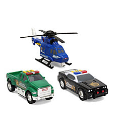 Tonka Mini 3 Pack, Police Helicopter, Pickup Fish and Game, Sheriff Cruiser