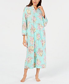 Miss Elaine Printed Brushed-Fleece Zip Robe