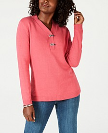 Hardware V-Neck Cotton Sweater, Created for Macy's