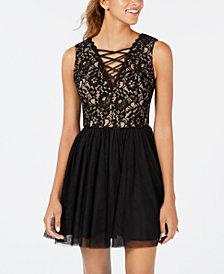 Blondie Nites Juniors' Criss-Cross Detail Fit & Flare Dress