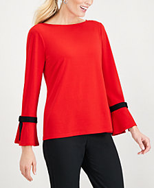 Charter Club Tie-Sleeve Crêpe Top, Created for Macy's