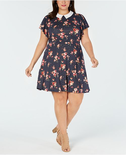 Monteau Trendy Plus Size Collared A-Line Dress & Reviews ...