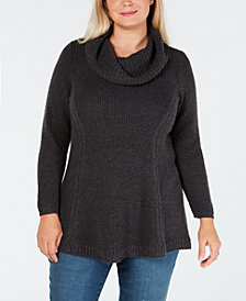 Style & Co Plus Size Cowl-Neck Tunic Sweater, Created for Macy's