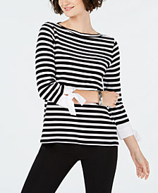 Charter Club Striped Tie-Cuff Cotton Top, Created for Macy's