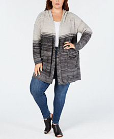 Style & Co Plus Size Ombré Hooded Cardigan, Created for Macy's