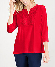 Karen Scott Petite Crochet-Bib Henley Top, Created for Macy's