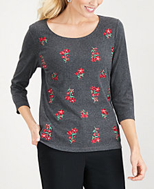 Karen Scott Embroidered Cotton T-Shirt, Created for Macy's