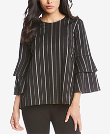 Karen Kane Striped Bell-Sleeve Top